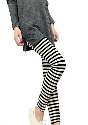 Hot Women Vertical Horizontal Stripe Leggings Pants  Trousers