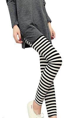 Hot Women Vertical Horizontal Stripe Leggings Pants  Trousers