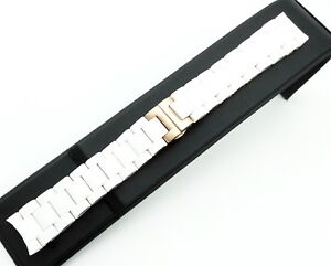 WHITE-Rubber-Steel-STRAP-BAND-BRACELET-For-Emporio-Armani-Watch-AR5920-20mm