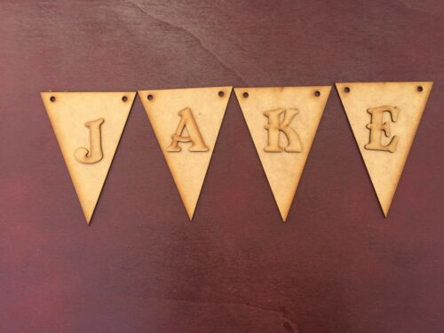 PP 10 x Laser Cut Triangle Bunting With Letters 2mm Wooden MDF Craft Blanks
