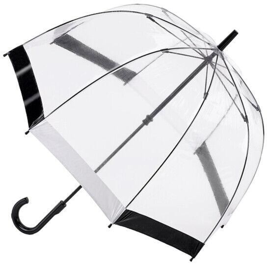 Fulton Birdcage Clear Dome Umbrella - Black/White Trim