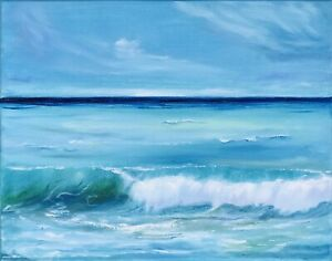 Ocean-Painting-California-Seascape-Original-Art-Canvas-16-by-20In-By-Chernetsova