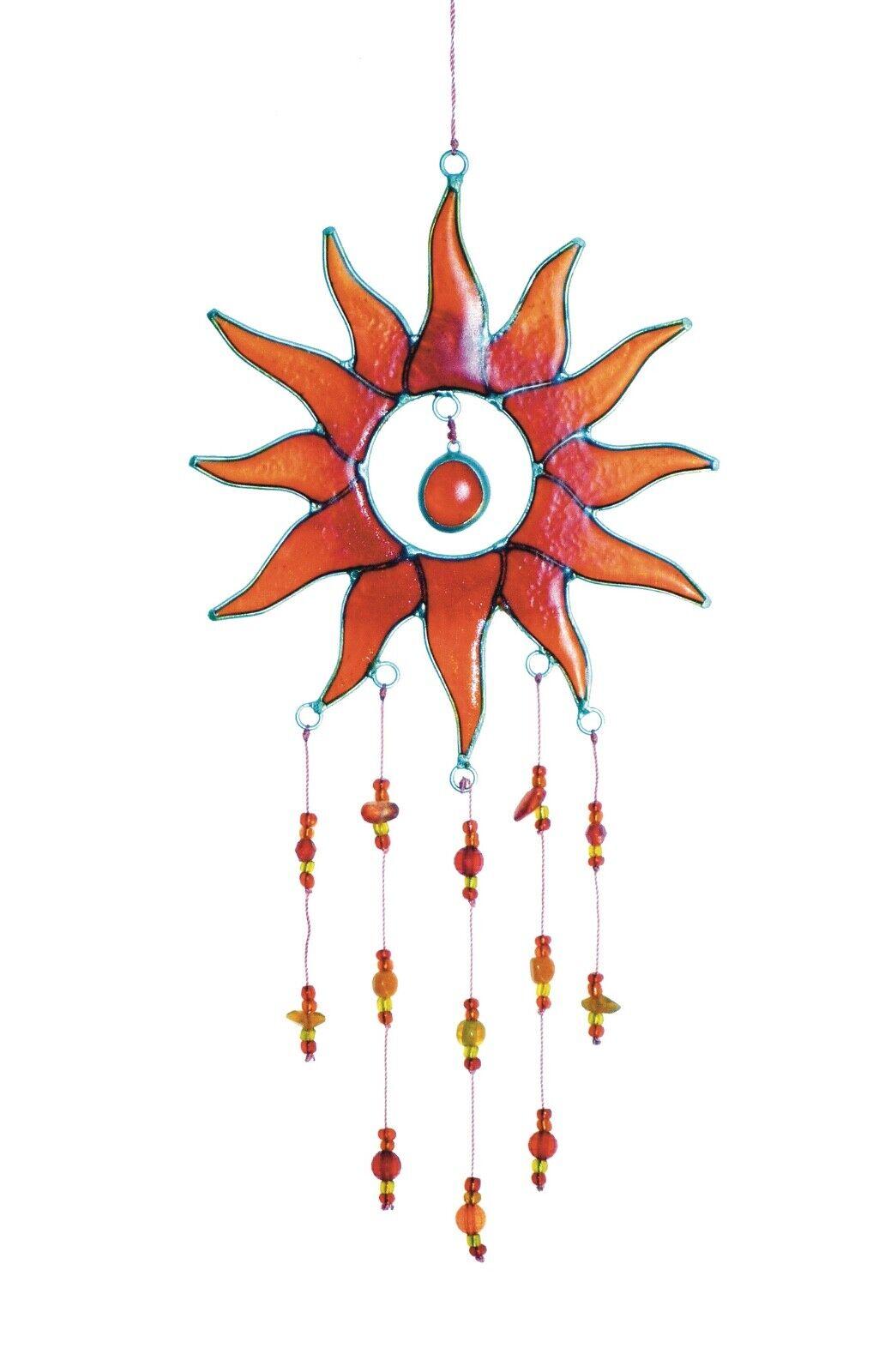 Sun Suncatcher Window Decoration Red and Orange with Beads
