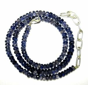 """90.00 CT Iolite Gemstone Rondelle Faceted Beads 19.5"""" NECKLACE 4.5-5.5MM S64"""