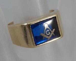 Details about Vintage Estate 10 Karat Gold Mason Masonic Blue Cabochon Ring  Sz 8 10K F0193