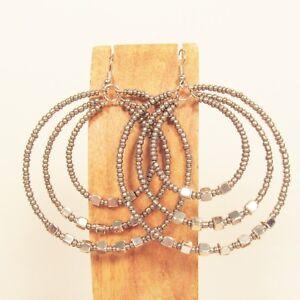 2-034-Silver-Color-Triple-Hoop-Bohemian-Bling-Handmade-Bali-Seed-Bead-Earring