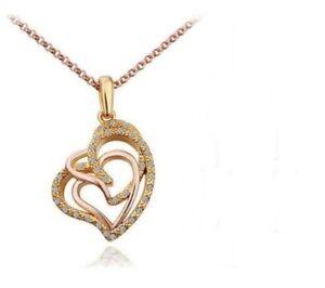 Herzkette-Halskette-Doppel-Herz-Kette-Anhaenger-Rosegold-vergoldet-Geschenk-Damen