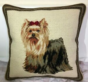 14 x 14 Yorkie Looking Up Pillow