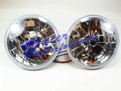 7 Tri-Bar Blue Dot Headlights + Amber Turn Signal Chevy Ford Mopar Hot Rod PAIR