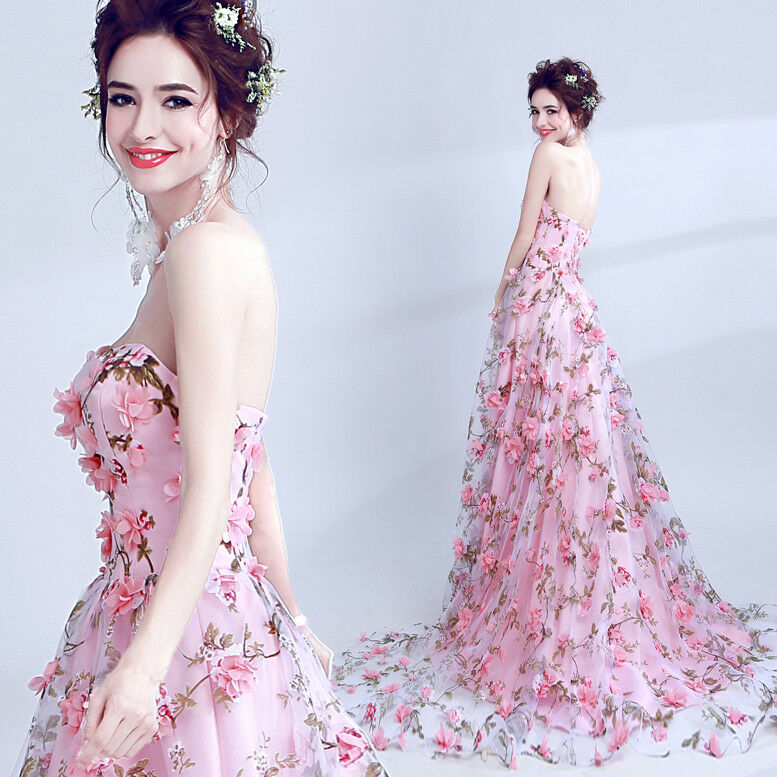 Noble Evening Formal Party Ball Gown Prom Bridesmaid Petal Tube Tailed DressTSJY