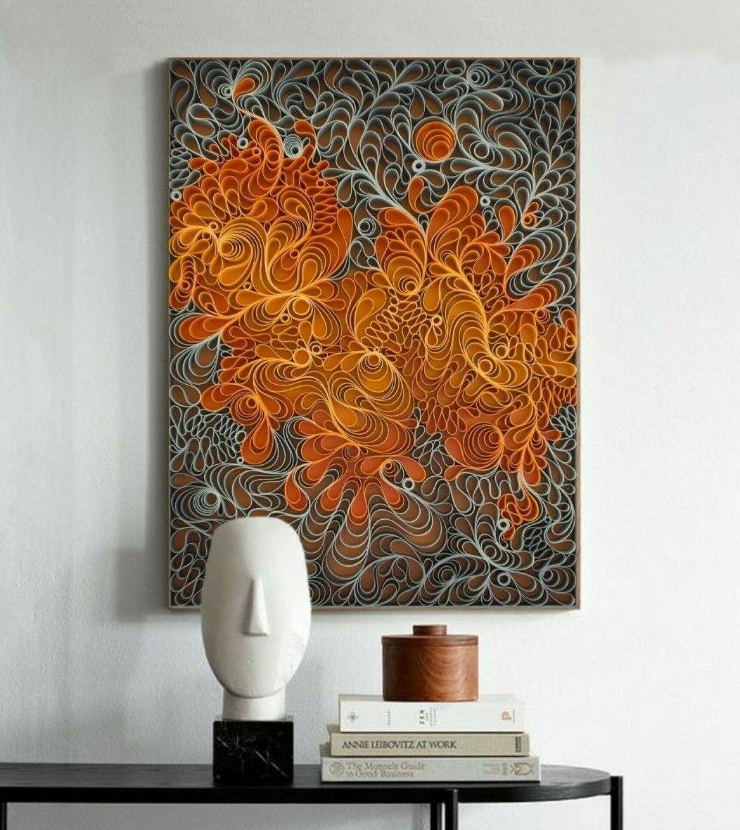 XL LEINWAND BILD 100x75x5 Orange GRAU WANDBILD 3D MUSTER MODERN ART GEMÄLDE NEU