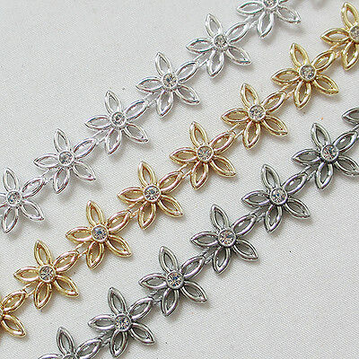 10 Yards ABS Flowers Trim With Shinning Crystal Rhinestone Custume