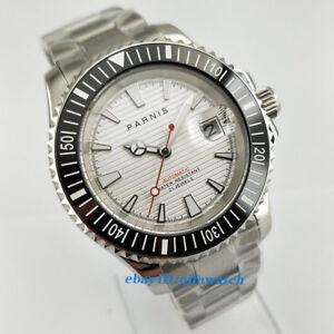 41mm-PARNIS-Datum-Stahl-Case-Leuchtende-weisses-Zifferblatt-Automatik-Herren-Armbanduhr