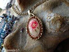 Medallón Collar Cadena Estilo Vintage Joyas Floral ámbar Cristales En Relieve