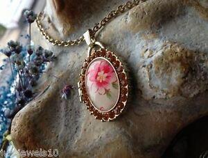 Ciondolo Collana Catena Gioielli Stile Vintage Floreale ambra cristalli in rilievo  </span>