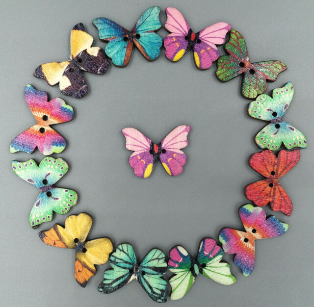 30pcs Mixed Butterfly Wooden Buttons  2 Holes Fit Sewing and Scrapbook 28x21mm