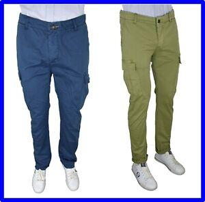 codice promozionale e7129 1e169 Dettagli su pantaloni cargo da uomo slim con tasche laterali tasconi cotone  estivi 46 48 52