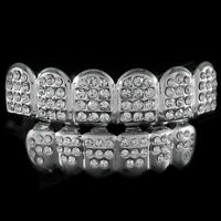 14k White Gold Iced Out Cz Teeth Top Bottom Silver Grill Set Caps Tooth Bling