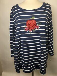 Karen-Scott-Women-039-s-Strawberry-Navy-amp-White-Stripe-Long-Sleeve-Shirt-3X-B72
