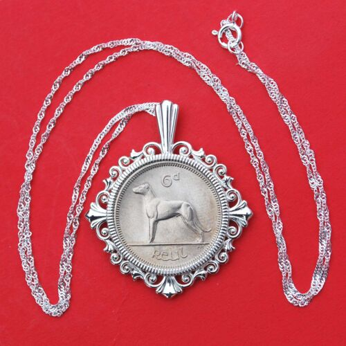 1968 Irish 6P Wolfhound Greyhound Dog BU Coin Solid 925 Sterling Silver Necklace