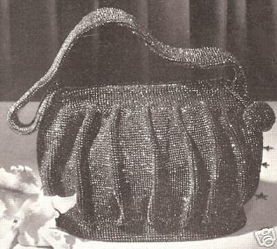 Vintage Crochet Pattern To Make Beaded Bag Purse Handbag Retro