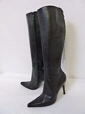 DAVID ACKERMAN Paris Women's Black Leather Fully Zipped Heel High Boots Size 10