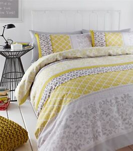 BANDED-FLORAL-BIRD-YELLOW-GREY-DOUBLE-COTTON-BLEND-REVERSIBLE-DUVET-COVER