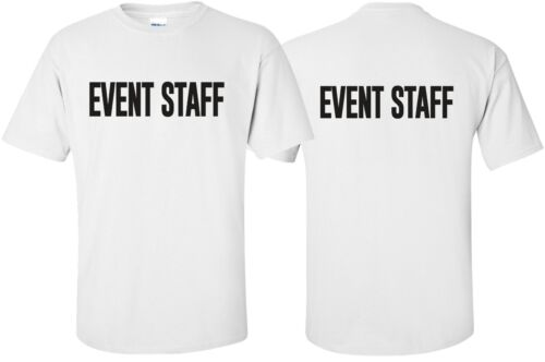 "/""Event Staff/"" T-Shirt Size S-4XL Front//Back party uniform bouncer security guard"