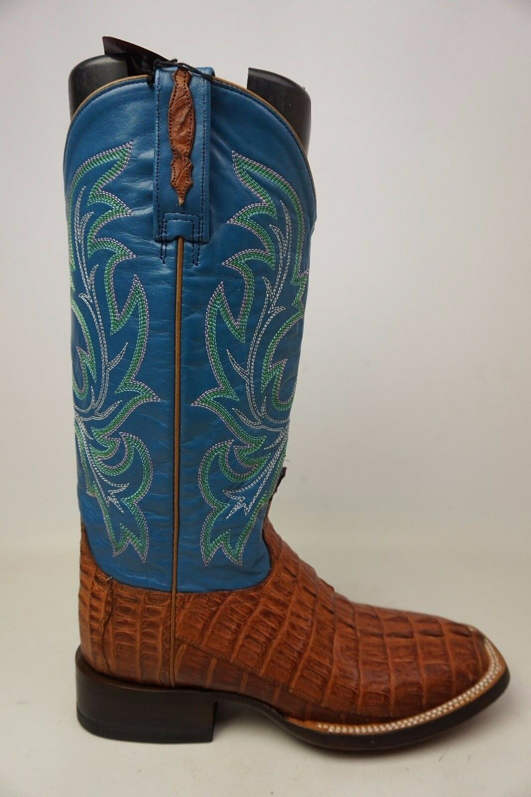 Lucchese Bootmaker M4945 W Toe Cowboy Boot Whiskey Hornback Caiman Tail Size 8.5