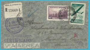 Argentina-Correo-Aereo-Zensurpost-Carta-por-De-Dependiendo-Munich