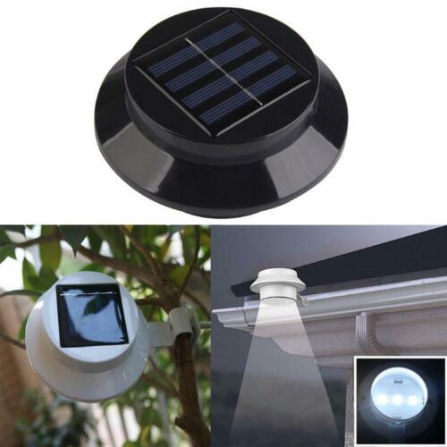 Set of 4 Solar Gutter Fence Lights 3 LED Outdoor  Wall Roof,UK STOCK Garden