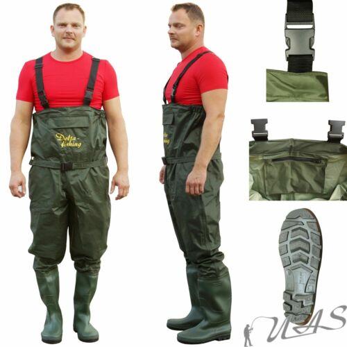DELTA-FISHING Wathose Nylon PVC /& 5mm Neoprene Gr 40-47 Auswahl Teichhose Kva