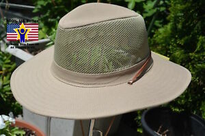 Fisherman-Cowboy-Crushable-Wide-Brim-Hiking-Mesh-Hat-Sun-Cap-Vented-Khaki