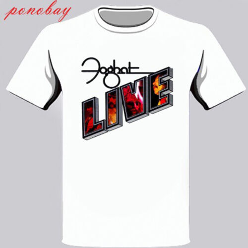 New FOGHAT Live Logo Rock Band Men/'s White T-Shirt Size S to 3XL