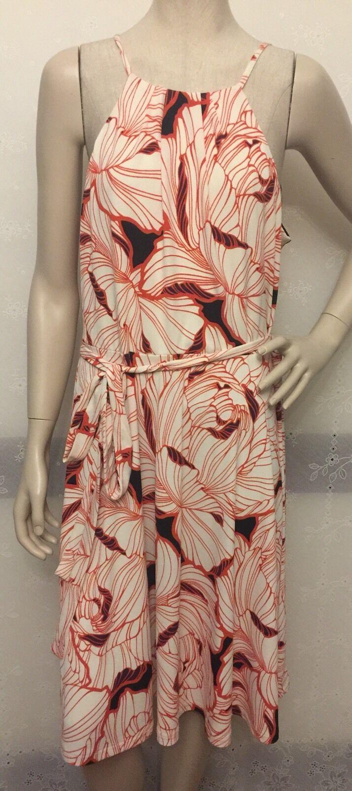 NWT Ann Taylor Floral Multi Farbe Sleeveless SZ XL Dress