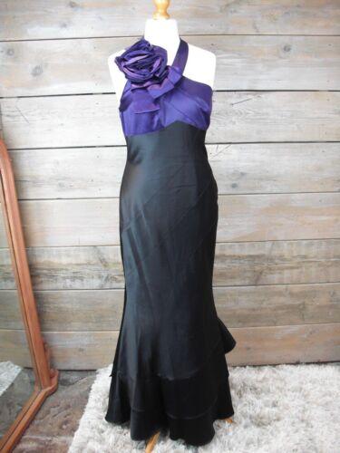 Karen en et longue satin Robe Robe violet Taille bustier 14 Uk Dh022 noir Millen rtqrYg