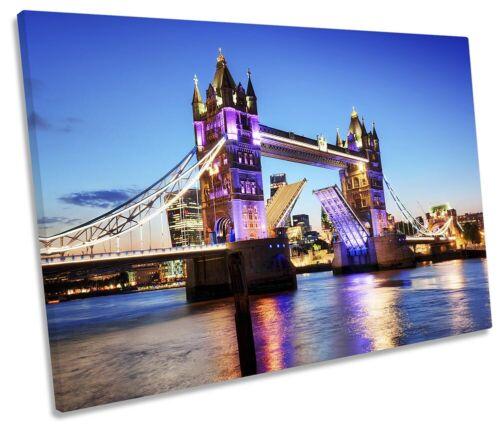 Tower Bridge London Sunset Picture SINGLE CANVAS WALL ART Print Blue