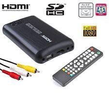 ^qb Box PLAYER Hard Disk 2,5 Host Usb Full-HD Hdmi Rca Video composito 220v 12v