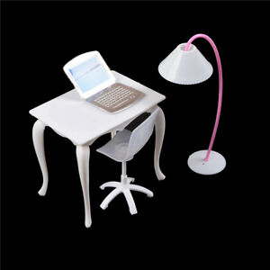 Barbie-Dollhouse-meubles-bureau-lampe-Laptop-chaise-Play-House-Vo