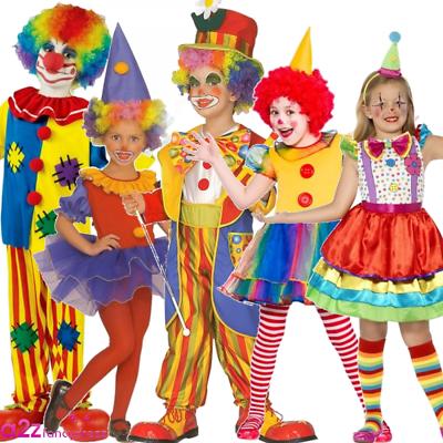 Bambini Da Clown Divertente Associazione Di Beneficenza Del Circo A Pois Arcobaleno Costume Vestito-mostra Il Titolo Originale