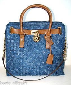 Image Is Loading New Michael Kors Hamilton Woven Blue Denim Luggage