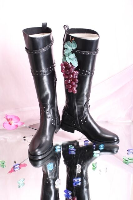Laura Bellariva 2624 Black Rich Leather Knee-High Studded Boots 35.5   US 5.5