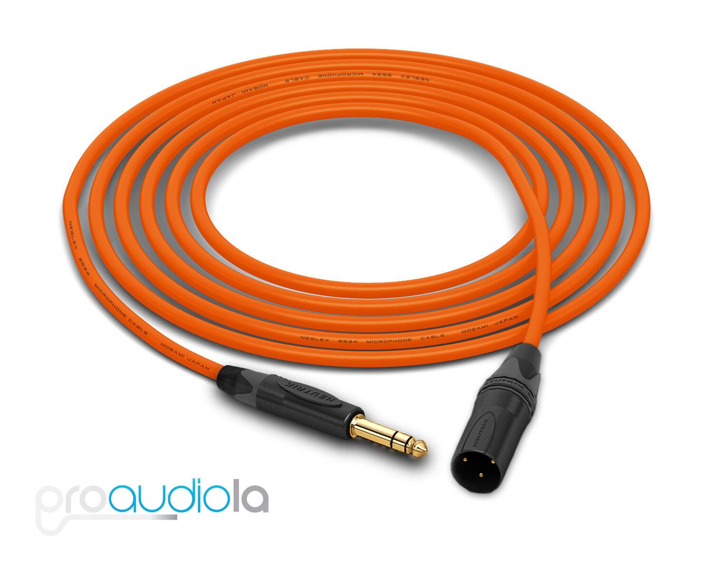 Mogami Quad 2534 Cable   Neutrik Gold TRS XLR-M   Orange 175 Feet   175 Ft. 175'
