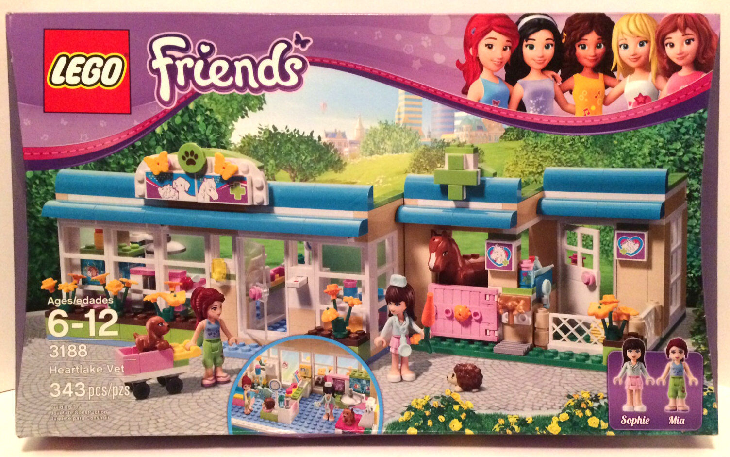 Brand Nuovo Sealed Retirosso Lego Friends 3188 Heartlake Vet 343 Pieces NEW - Other
