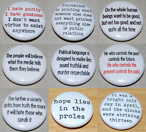 George Orwell Quotes 25mm 1 Inch Button Badge 1984 Animal Farm
