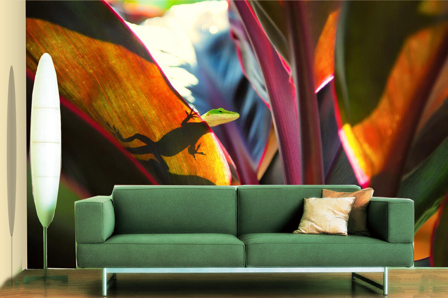 3D Lizard On Leaves 727 Wall Paper Wall Print Decal Wall Deco Indoor Wall
