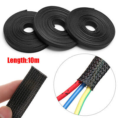 10m 6//8//10//12//15mm Length Black Wire Protecting PET Nylon Braided Cable Sleeve