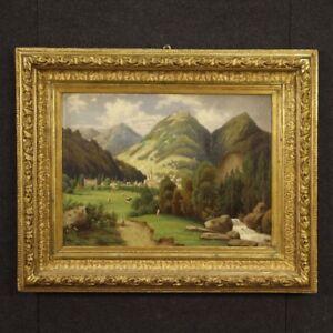 Dipinto-francese-quadro-paesaggio-olio-su-tela-cornice-dorata-stile-antico-900