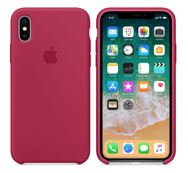 new concept 9c0c5 03a8a Rose Red Genuine Original Apple Silicone Case iPhone X