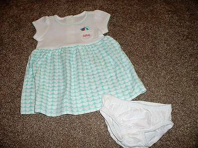 Gymboree Baby Girls Birds & Dinos Teal Hearts Dress Set Size 0-3 months NWT NEW